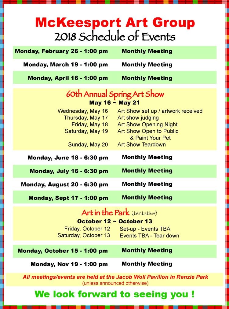 Schedule of 2018 events